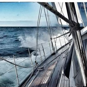 Laura the Chef_onboard with stormy weather